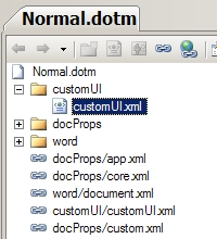An OpenXML Word 2007 Document in Visual Studio 2008 showing customUI.xml